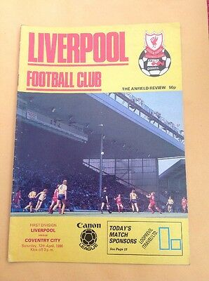 Liverpool v Coventry football programme, 12 April 1986