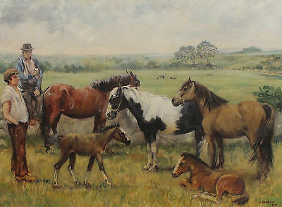 20th Century Oil Painting Gypsies and Ponies