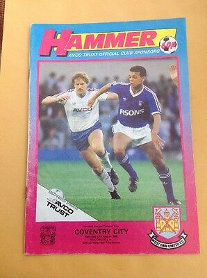 West Ham v Coventry football programme, 23 August 1986