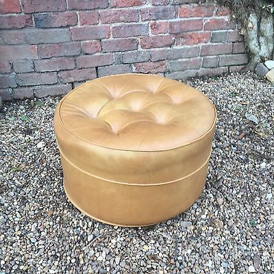 Retro 70s Mustard  pouffe Vintage Leatherette Buttoned Chesterfield scandi