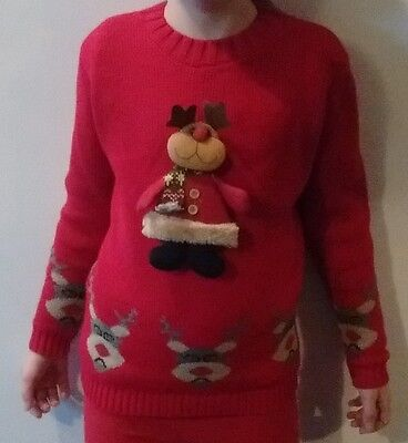 """Kids Reindeer Christmas Jumpers """"WHY NOT?"""" 7 to 8 sizes red, black and blue"""