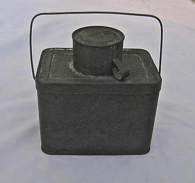 "Vintage Antique Coal Miner Tin Lunch Box Lid and Cup Small Miniature 4"" Wide"
