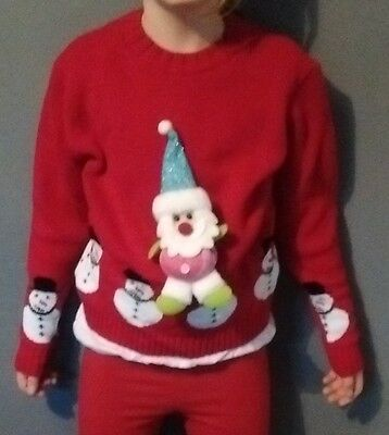 """Kids Father Christmas Jumpers """"WHY NOT?"""" 7 to 8 sizes (blue hat)"""