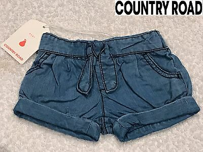 COUNTRY ROAD BABY GIRL CHAMBRAY LYOCELL SHORTS Denim Summer Size 000 00 RRP $40