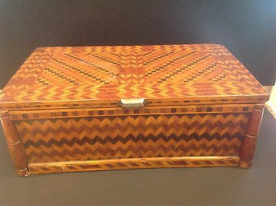 Antique Art And Crafts Inlayed Large Wood Box
