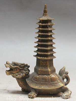 "6"" China Chinese Copper Dragon tortoise Turtle Statue Stupa Pagoda Tower Statue"