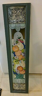 Stained Glass Framed Window Featuring Fruits & Cherbus Wall Panel