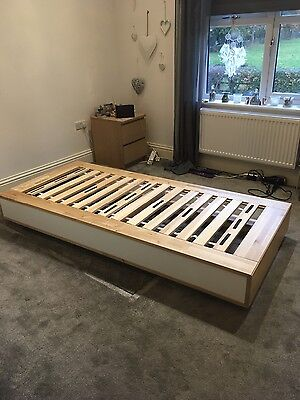 oak and white single bed base with drawers