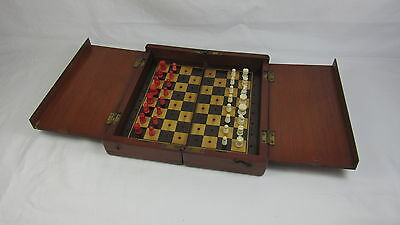 Late Victorian Mahogany Traveling Chess Set Possibly Jaques Or Whittington
