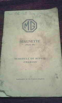 MG Magnette Mk3 (1961) Repair Charges