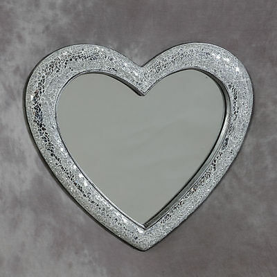 Silver Crackle Glass Wall Mirror Mosaic Heart Frame Home Wedding