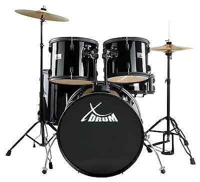 Drum Set Percussion Kit 3 Toms Bassdrum Snare Stool Hihat Pedal Cymbals Black