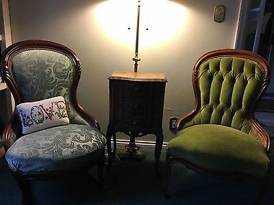 Pair of antique vintage victorian chairs, (1 is a rocker)