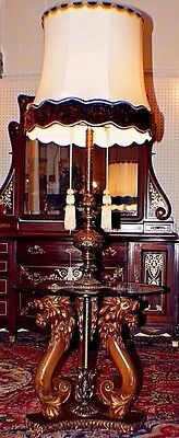 Vintage Antique Walnut, Brass & Glass Floor Lamp Table Lamp Carved Lions Faces