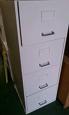 lovely white painted four drawer steel  filing cabinet