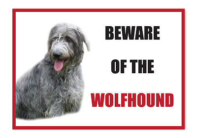 Funny Beware of the Wolfhound Dog Vinyl Car Van Decal Sticker Pet Lover