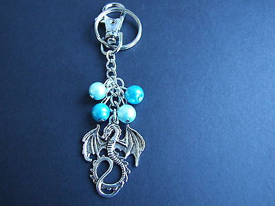 Dragon with blue faux pearls keyring stocking filler