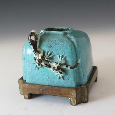 Chinese Porcelain Dragon Scholars Brush Washer In Robins Egg Enamels Wood Stand