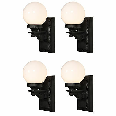 Pair of Antique Exterior Sconces with Glass Globes, 2 Pair Available, NSP1181