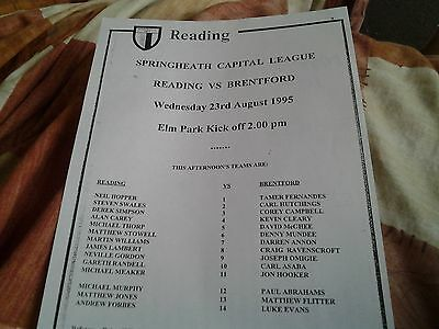 reading v brentford 95.96 reserves capital lge