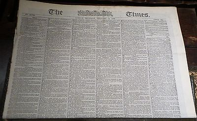 Victorian newspaper The London Times Febuary 20 1867