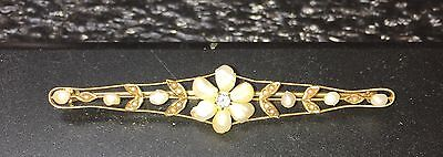 Antique 14K GOLD FRESH WATER PEARL Brooch