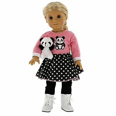 "Panda Poodle Skirt Outfit for American Girl and 18"" Dolls - Clothes Set New"
