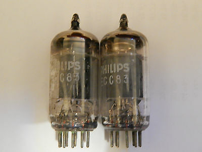 2 X Philips Long Smooth Plate Rare Vintage Valve Tested 12Ax7 Pair #5 Ecc83