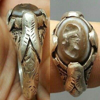 Ancient intaglio Face Agate stone Solid Silver Ring # G
