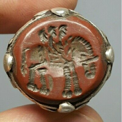 Ancient 3 Elephant Rider intaglio Stone Silver Ring # G