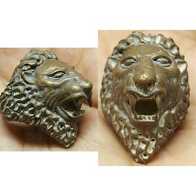 Roman Rare Ancient Wild Bronze Ring Lion Head # G