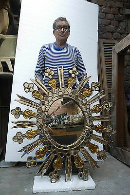 ANTIQUE SUNBURST HAND CARVED GILT WOOD MIRROR - 19th