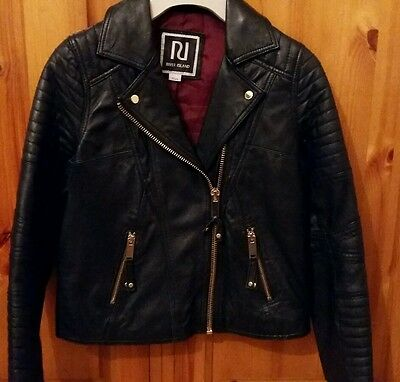Genuine Black Leather Biker Jacket from River Island Age 10
