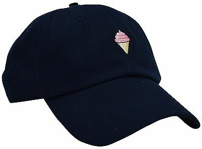 ICE CREAM Cotton Dark Blue Embroidery Adjustable Baseball Cap Hat from Skyed ...