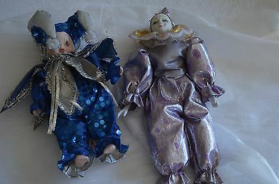 2 Mardi Gras Doll, Collectible Porcelain