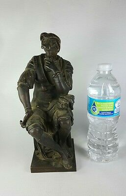 """Rtion Sauvage (French, 19Th C.) Bronze Sculpture, H 10 1/2""""  After Michelangelo"""