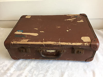 Vintage Retro Phoenix Travel Goods Brown Suitcase 46 x 30 x 15cms Fina Stickers