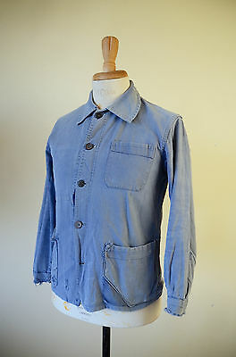 VTG 1960s French Faded Cotton Blue Work Chore Jacket Workwear