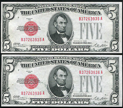 (2) Consecutive 1928 $5 Red Seal Legal Tender United States Notes Unc