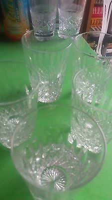 Cut glass lead crystal small glasses x 5, one damaged