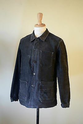 VTG 1940s French Black Moleskin Work Chore Jacket Patched Workwear Vulcain
