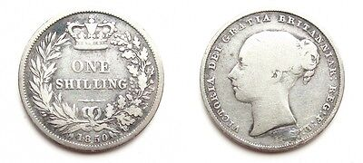 Victoria 1850 Silver Young Head Shilling - Extremely Rare Key Date