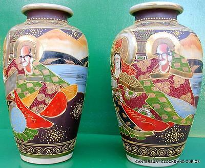 ANTIQUE MEIJI PERIOD JAPANESE KUTANI OVOID VASE PAIR CERAMIC POTTERY 32cm