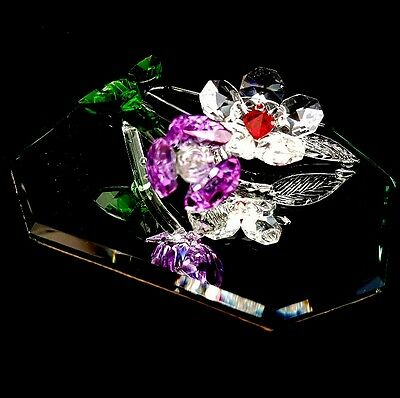 Crystal Glass Flowers on a Mirror Ornament