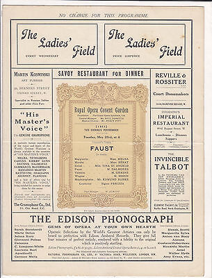 Opera Programme 1911 Nellie Melba Charles Dalmores Faust Covent Garden