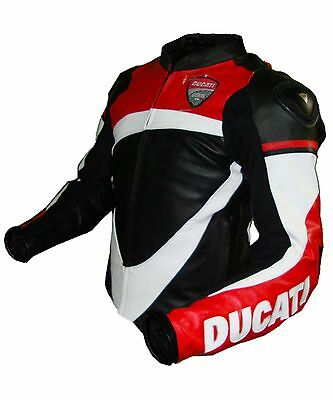 New Ducati Motorcycle Leather Jacket Black,Red & White