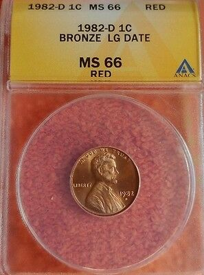 1982 D  Bronze Large Date Lincoln Cent ANACS MS 66 RD