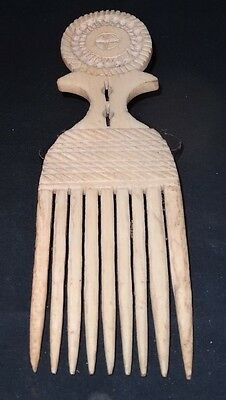 Old Afro style Carved Bone Hair Comb