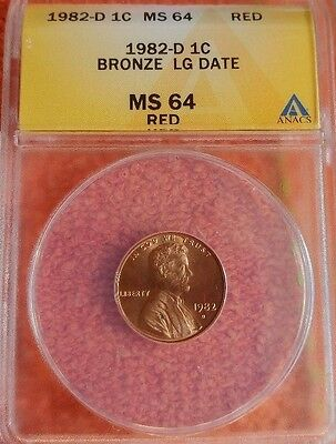 1982 D  Bronze Large Date Lincoln Cent ANACS MS  64 RD