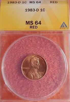 1983 D Lincoln Cent ANACS MS 64 RD